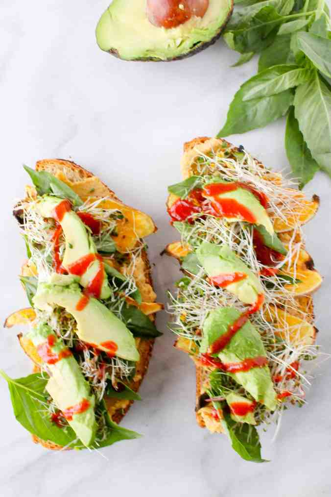 7 ingredient Favorite Veggie Sandwich (vegan) + how to make classic hummus from The Grateful Grazer.