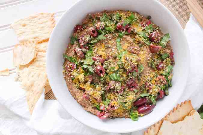 Kalamata Olive Lentil Hummus. Vegan, high in protein. Use as a dip or sandwich spread. From The Grateful Grazer.