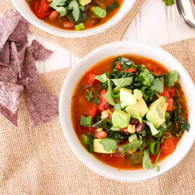 Vegan Freezer-Friendly Taco Soup - perfect for batch cooking ahead of time!