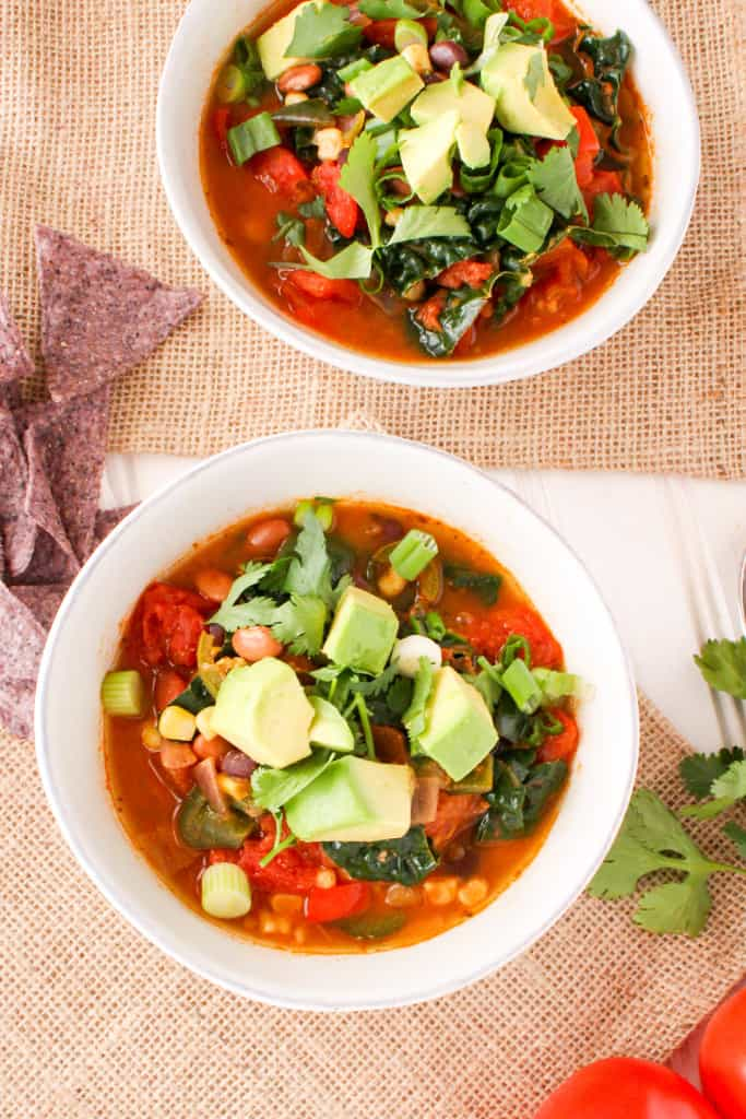 Taco soup is a simple healthy, plant-based recipe that can be made ahead of time and frozen for later. Stay healthy by batch cooking nutritious meals!