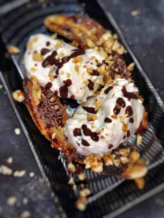 35 Plant-Powered Summer Barbecue Recipes - Grilled Banana Split - The Grateful Grazer