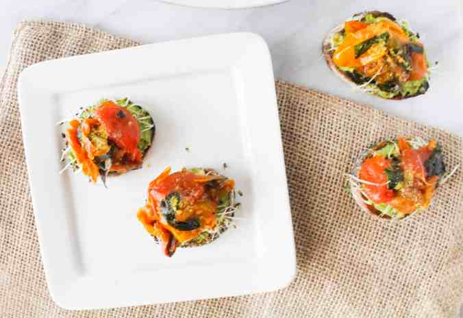 Small Plates for Sunny Days: Roasted Tomato Avocado Toasts by The Grateful Grazer.