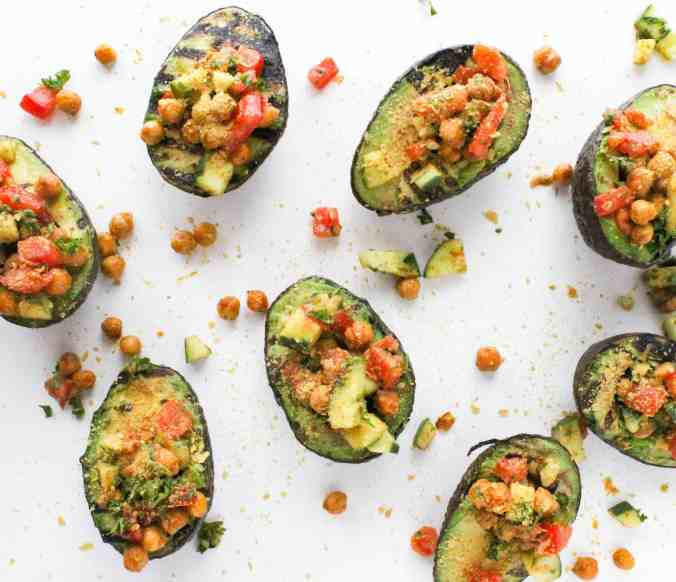 Grilled and Stuffed Curry Avocados from The Grateful Grazer