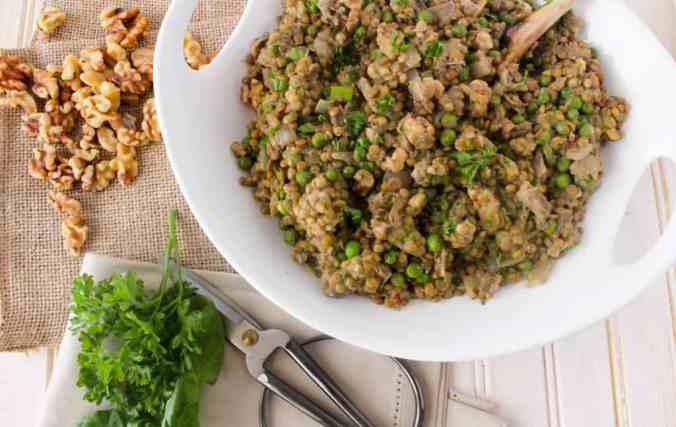 Warm Lentil Salad with Creamy Walnut Herb Dressing - We Heart Walnuts Recipe Contest