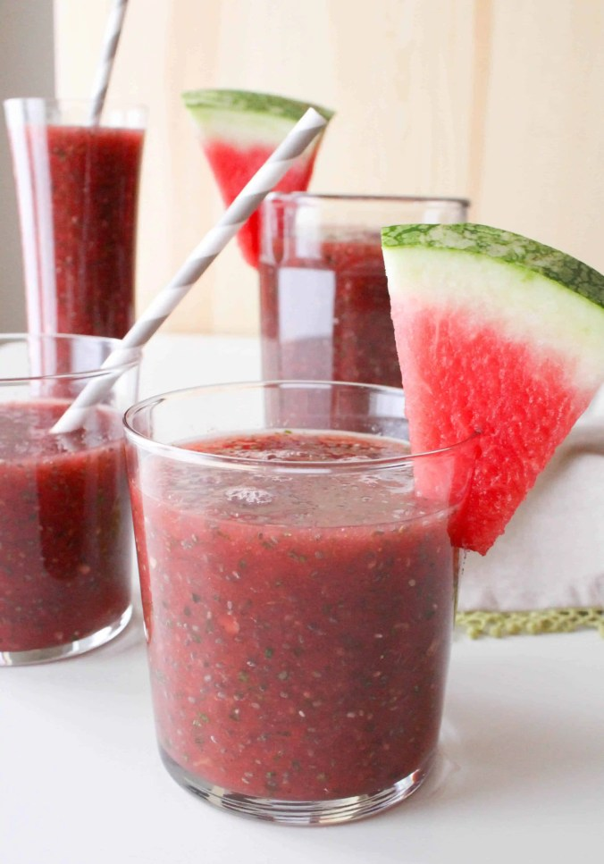 Watermelon Chia Fresca: refreshing and healthy summer beverage from The Grateful Grazer.