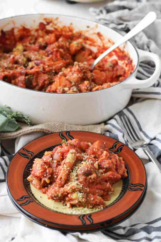 This hearty baked pasta dish is the perfect comforting fall entree that's also veggie-packed and vegan.