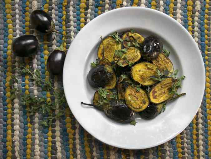 Autumn produce and the best healthy seasonal recipes for fall, including this Curried Baby Eggplant!