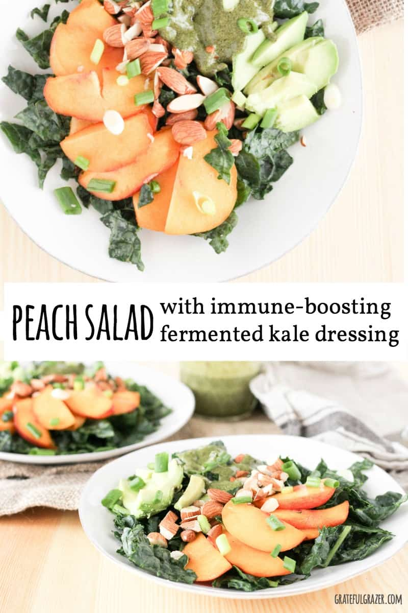 This Peach Avocado Kale Salad features an extra helping of kale using an immune-boosting creamy vegan salad dressing.