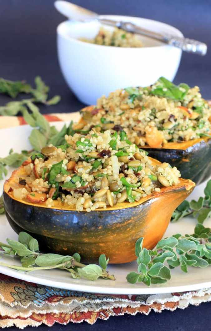 Autumn produce and the best healthy seasonal recipes for fall, including this Acorn Squash Stuffed with Pumpkin Seed Cherry Pilaf