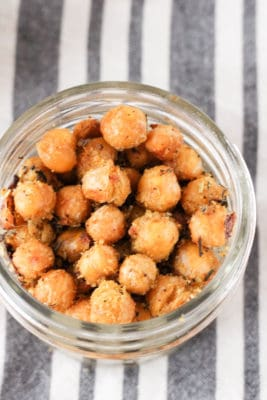 Cheesy Herb Roasted Chickpeas (Vegan)