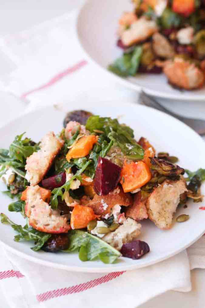 Autumn produce and the best healthy seasonal recipes for fall, including this Fall Panzanella Salad!