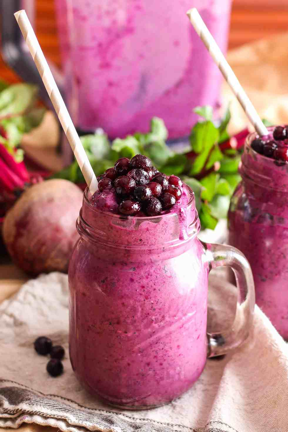 This healthy Wild Blueberry Beet Smoothie is a colorful and nutritious way to start your day with an extra serving of vegetables at breakfast! Dairy-free.