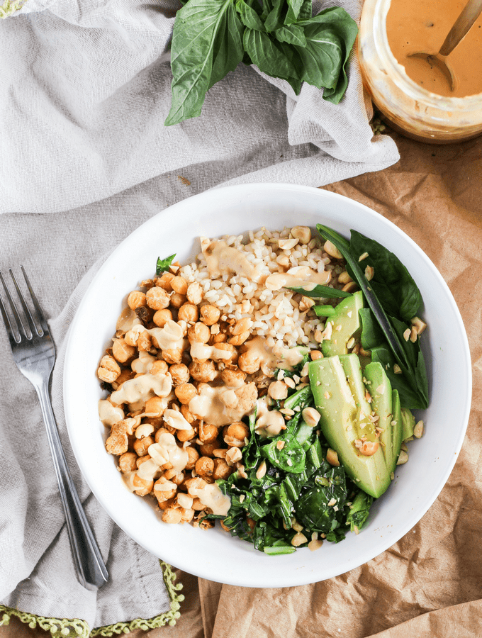 Spicy Peanut Chickpea Bowls with Sesame Collard Greens