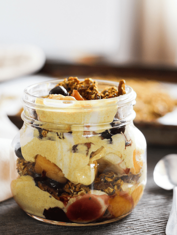 Golden Milk Granola + Fruit and Yogurt Parfait