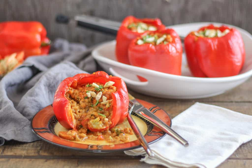Stuffed peppers get a delicious update with the addition of lentil coconut curry. This recipe will be your favorite weeknight meal for using up leftovers!