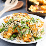 Roasted acorn squash makes this simple, whole-grain barley salad nutritious and holiday-ready. This beautiful dish is a great way to feature fall produce!