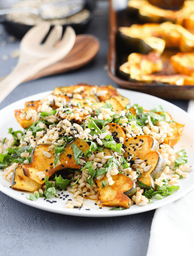 Roasted Acorn Squash Barley Salad
