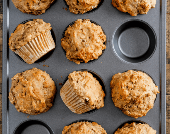 Banana Pecan Oat Muffins. This healthy breakfast recipe is perfect for meal prep. One bowl, whole grains, and dairy-free.