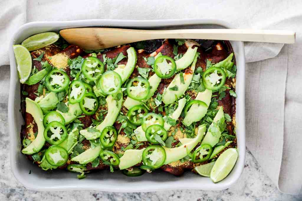 Healthy enchiladas with spinach, mushrooms, and walnuts! This delicious weeknight dinner is great for meal prep. Vegan and vegetarian recipe options.