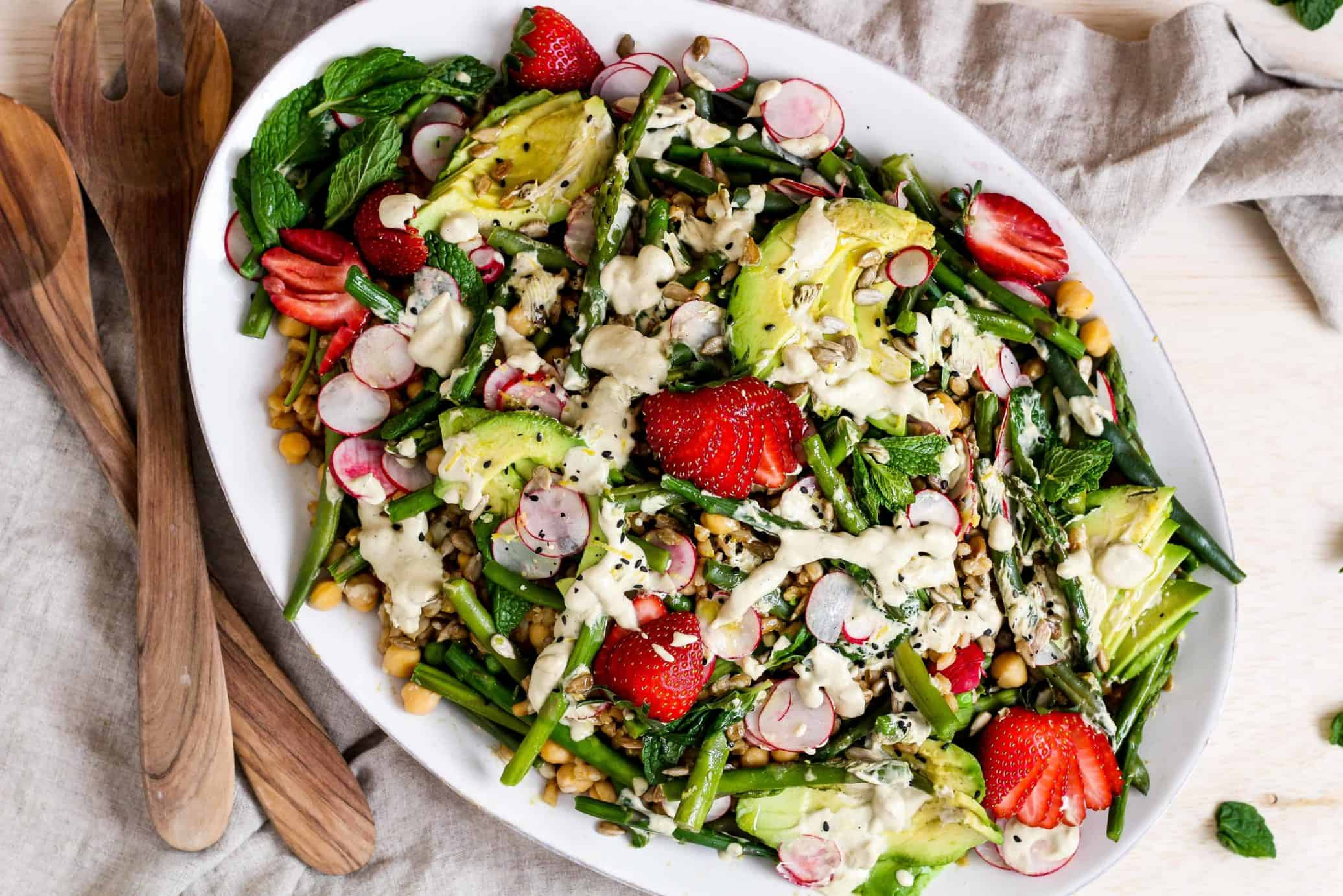 Colorado dietitian recipe developer food photographer spring farro salad upgrade your regular grain salad with spring vegetables and creamy lemon forumfinder Choice Image