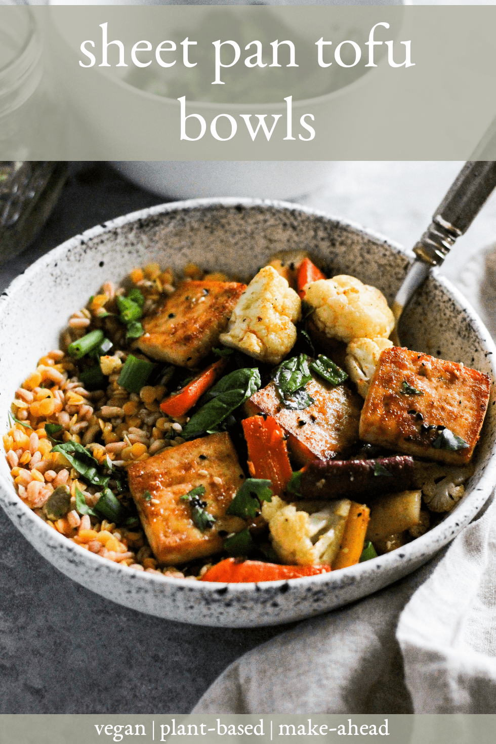 "Sheet pan tofu bowls in white stone bowl with fork and white text that reads, ""sheet pan tofu bowls."""