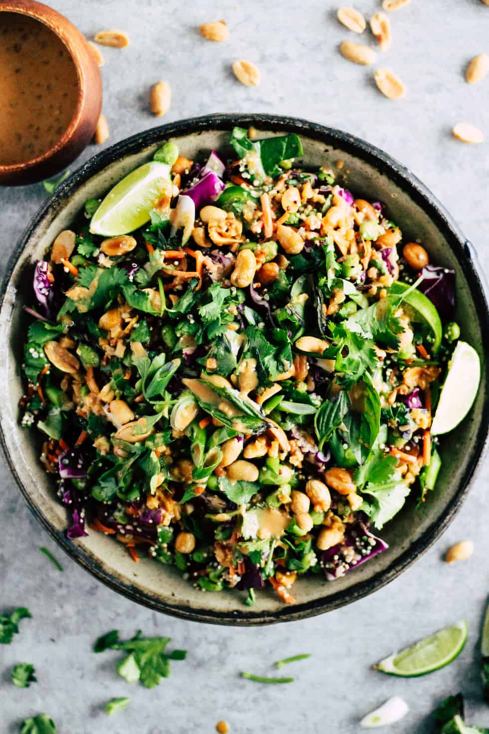 Spicy Edamame Crunch Salad in ceramic bowl with peanuts and fresh herbs around edges.