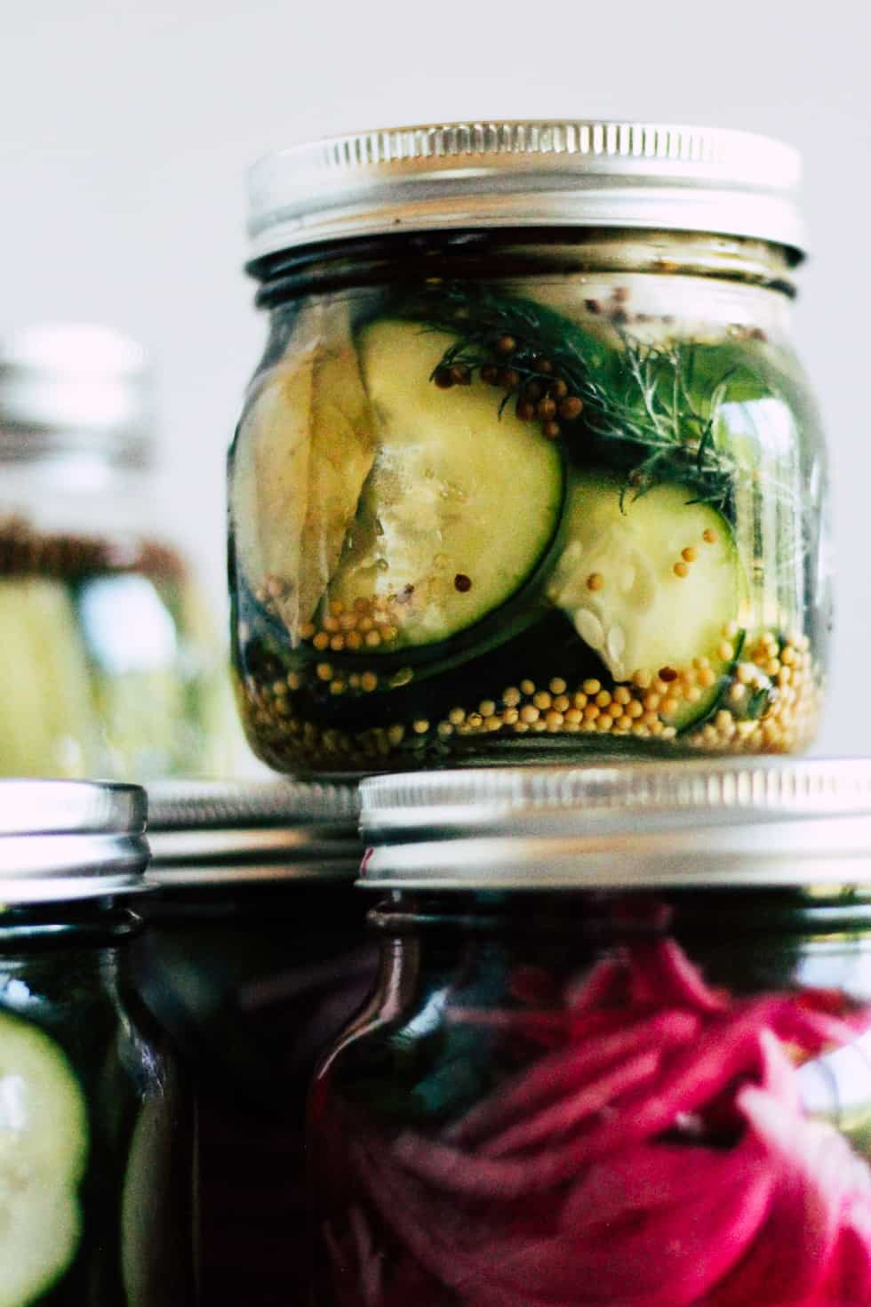 Pickled vegetables in mason jars.