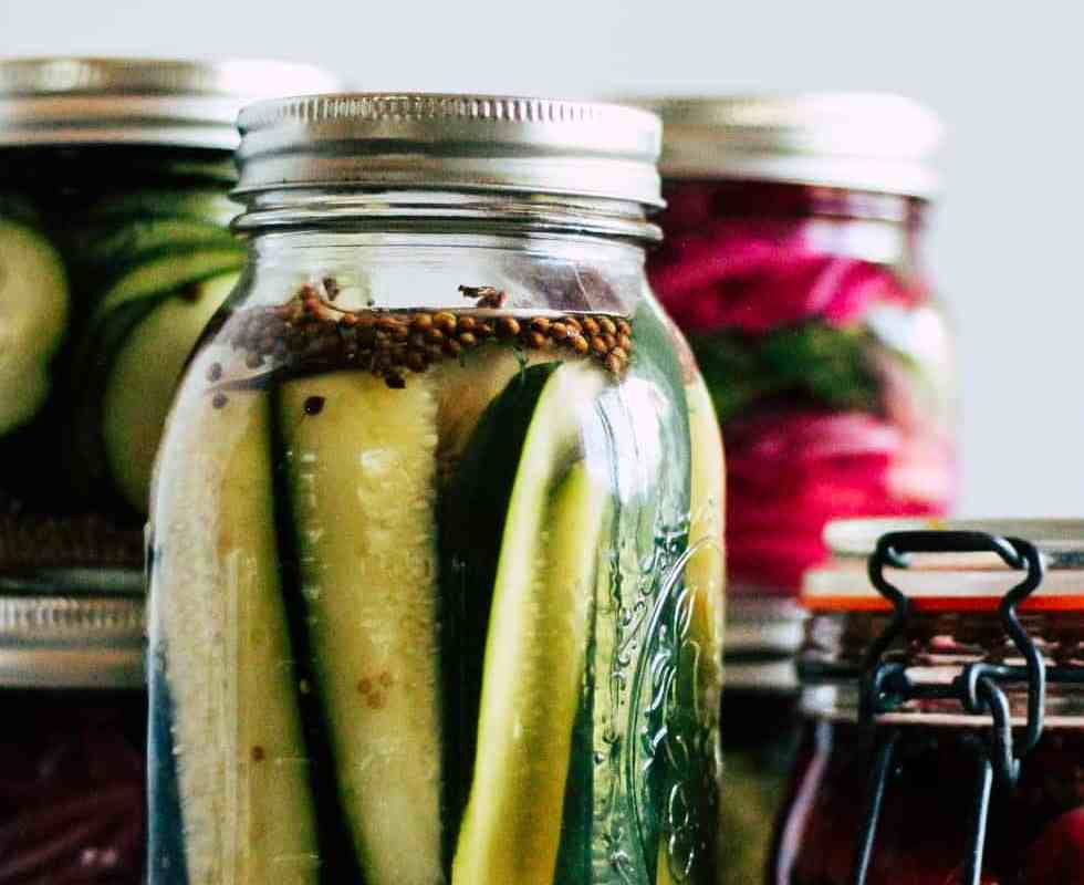 Quick pickles in mason jars with white background.