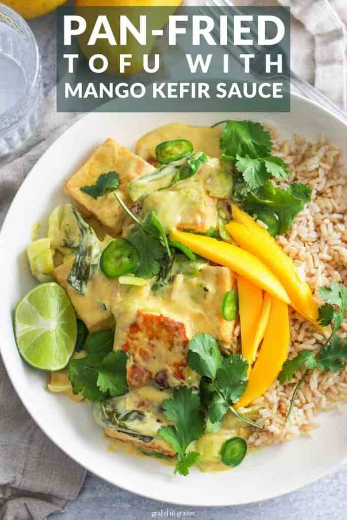 "Yellow tofu rice bowls with text that reads, ""pan-fried tofu with mango kefir."""