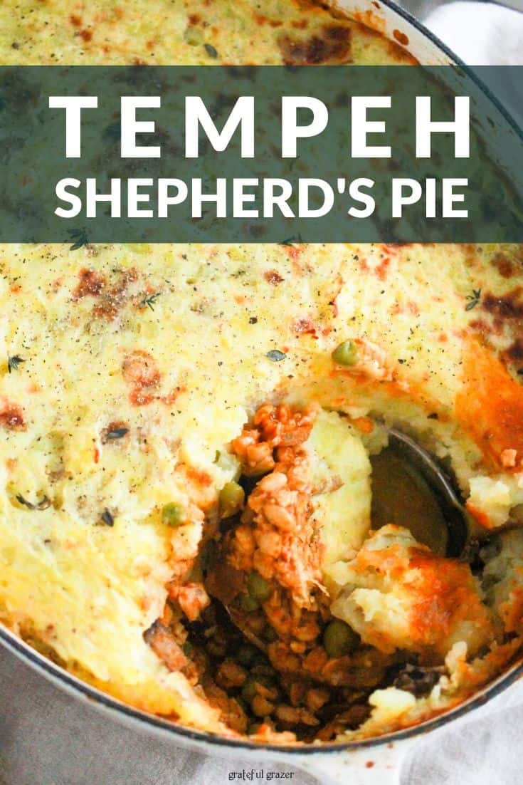"White dutch oven with shepherd's pie and text that reads, ""Tempeh Shepherd's Pie."""