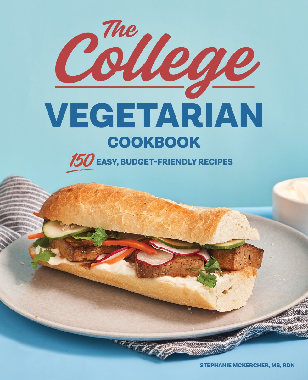 The College Vegetarian Cookbook cover with sandwich against blue background.