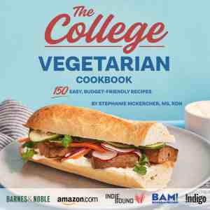 Book cover for The College Vegetarian Cookbook with a Vegan Bahn Mi Sandwich against blue background.