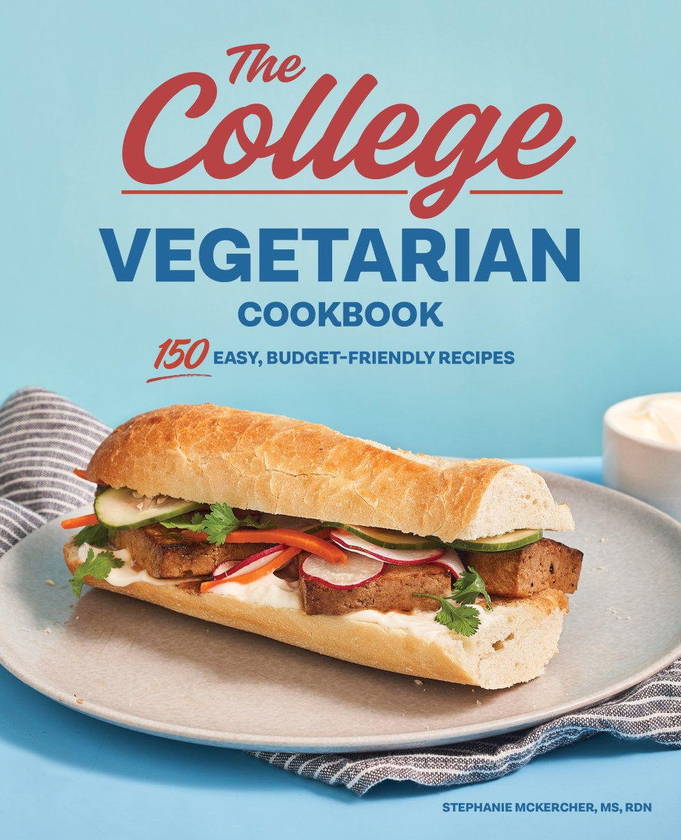 The College Vegetarian Cookbook cover with tofu sandwich against blue background