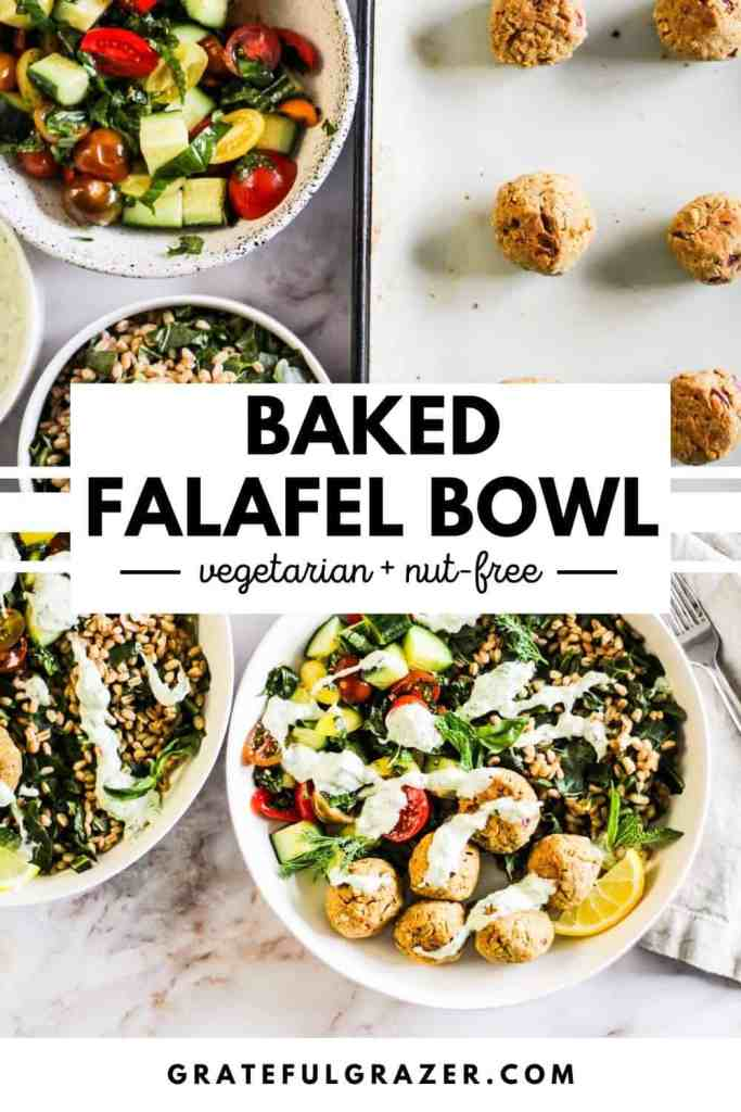 """Top image shows sheet pan of falafel, bowl of tomato cucumber salad, bowl of grains, and bowl of creamy sauce. Bottom image shows plated Baked Falafel Bowl in white bowls. Text reads, """"Baked Falafel Bowl: vegetarian and nut-free; GratefulGrazer.com."""""""