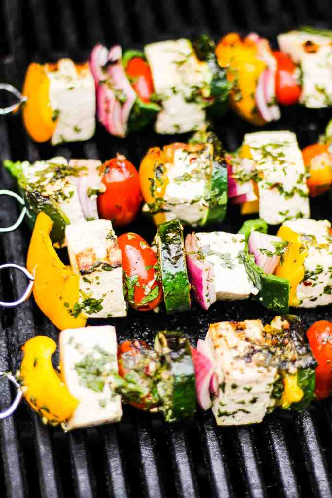 Tofu kebabs on the grill.