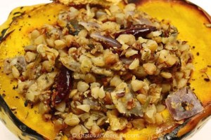 Winter Squash, Stuffed with Buckwheat, Walnuts & Cranberries