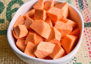 Sweet Potato, cut into pieces.