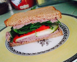 "Walnut ""pate"" sandwich with roasted pepper, pear and arugula"