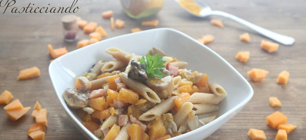 Pennette con zucca funghi e pancetta