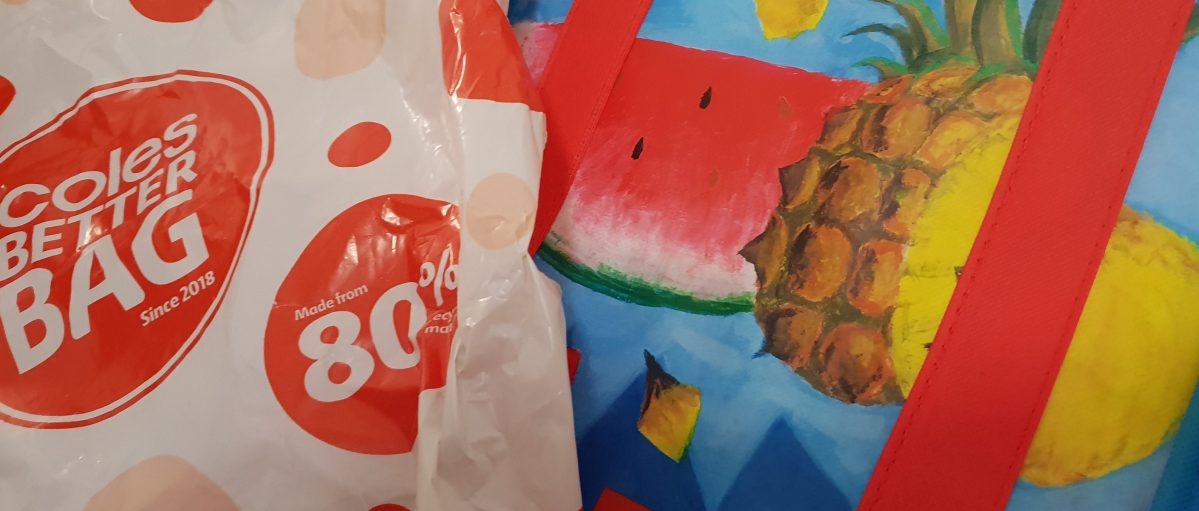 Coles Supermarkets bag and groceries