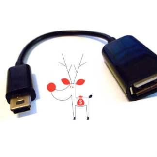 Adaptor cablu OTG mufa usb mama la mufa mini usb 5 pini tata