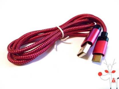 Cablu de transfer date si incarcare mufa USB Type C, fir impletitura textila