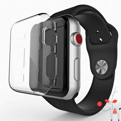 Carcasa silicon protectie margini ecran Apple Watch 42mm, Seria 1, transparenta