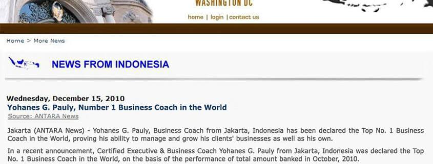 Coach Yohanes G. Pauly, Number 1 Business Coach in the World Featured - Gratyo.com