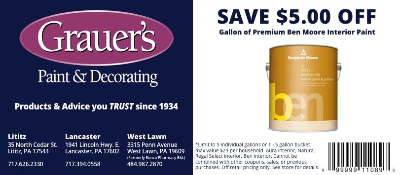 specials and coupons grauer s paint decorating on benjamin moore coupon id=32498