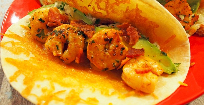 Shrimp Tacos with Cheesy Tortillas and Chipotle Mayo