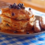 Blueberry Oatmeal Pancakes with Almond Butter Syrup