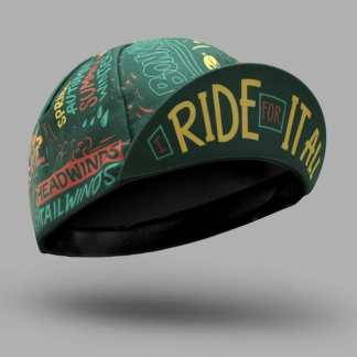 "Casquette motif ""I Ride for it All"" verte avant"