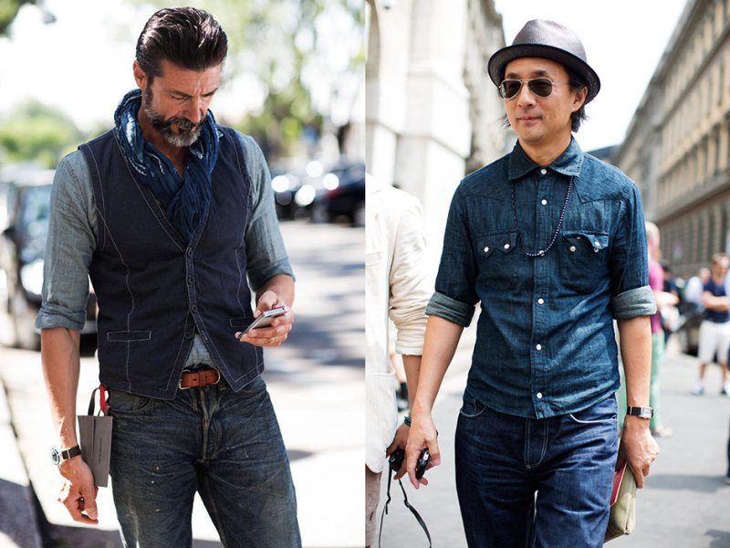 Men in all denim