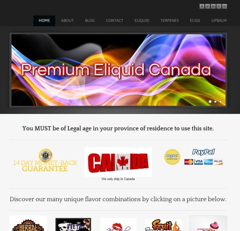 E-liquidcanada homepage